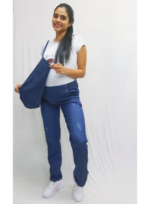 Overol bota recta ,en jean tela delgada stresh convertible a pantalón doble uso