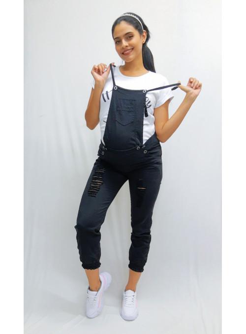 Overol en dril negro e indigo azul tela  delgada stresh,  con resorte en bota convertible a pantalón