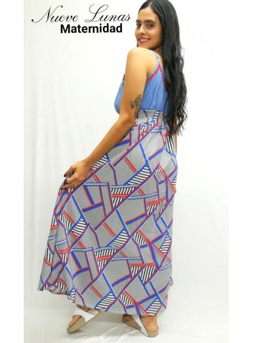 Vestido largo combinado en índigo y chalis