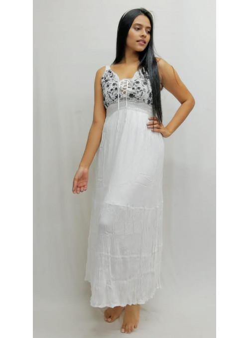 Vestido largo bordado tela hindú