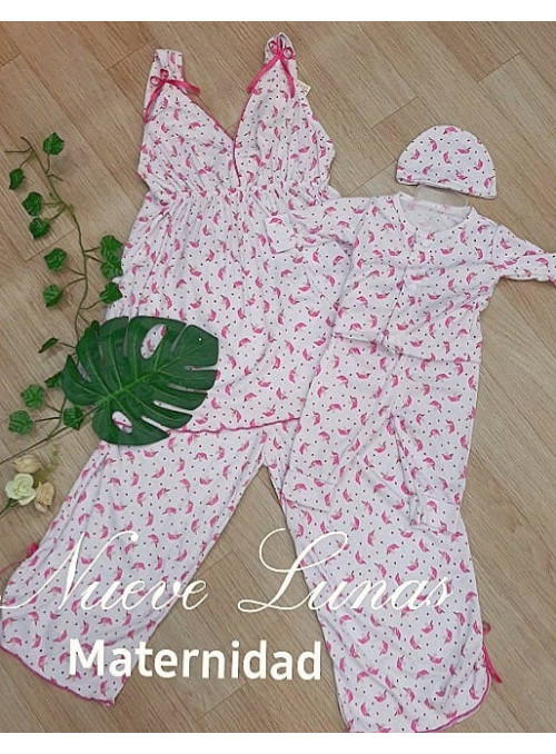 Pijamas maternas mamá bebe. (Batola y capri)