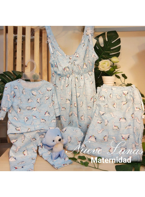 Pijama pantalón capri incluye pijamitas del bebe